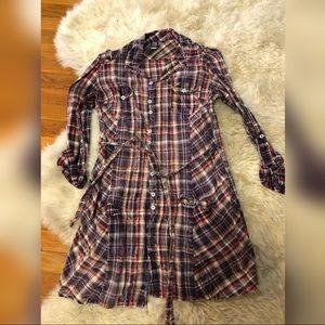 Zara TRF Light Plaid fitted button down shirt S